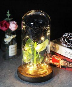 Rose Éternelle Noire Sous Cloche